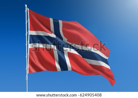 The National flag of Norway blowing in the wind in front of a clear blue sky #624905408