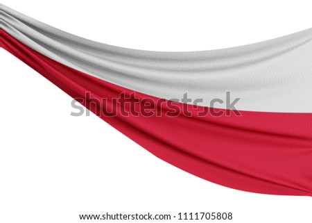 The national flag of Poland. Waving fabric flag with texture draped on a plain white background. 3D Rendering