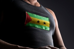 The national flag of Sao Tome and Principe on the athlete's chest