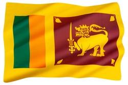 The national flag of Sri Lanka - also called the Lion Flag or Sinha Flag.