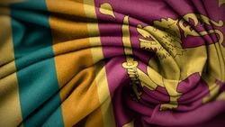 The national flag of Sri Lanka. Sri Lanka flag with fabric texture. Close up waving flag of Sri Lanka.