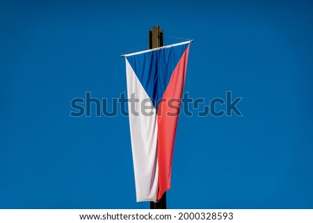 The national flag of the Czech Republic or flag of Czechia, or Czech Flag, the same as the flag of the former Czechoslovakia.  Photo stock ©