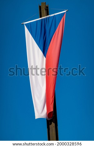 The national flag of the Czech Republic or flag of Czechia, or Czech Flag, the same as the flag of the former Czechoslovakia.  Foto d'archivio ©