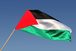 The national flag of the Palestinian people. No people. Copy space