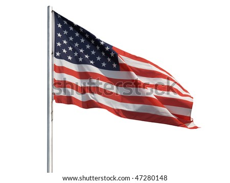The national flag of the United States of America (USA) - isolated over white background