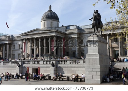 The National Gallery and statue of King George IV in Trafalgar Square, London, England. - stock photo