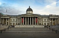 The National Gallery at Trafalgar Square, London. Facade designed by William Wilkins.