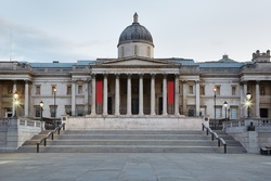 The National Gallery building in the early morning in London, nobody