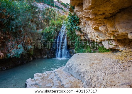 The national park Ein Gedi, Israel. Beautiful waterfall and small scenic pond with clear water
