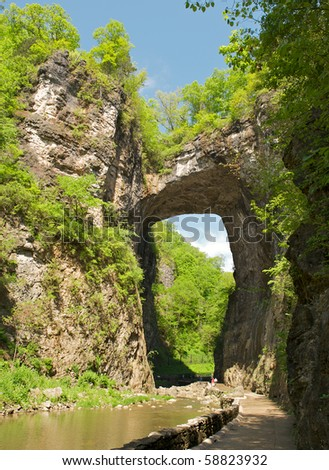 The Natural Bridge, a well known tourist attraction in the Blue Ridge Mountains of Virginia.