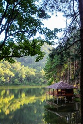 The natural landscape scenery of the wooden cabin or hut surrounded by lake and green pine forest. The water reflection view makes me relax and peaceful after outdoor activity on a holiday vacation.