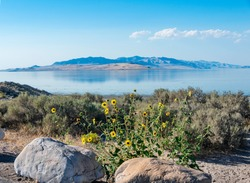 The natural scenic beauty of Antelope Island State Park, Great Salt Lake, Utah, USA.