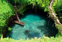 The natural turquoise waters pool of To Sua ocean trench in Lotofaga -Upolo, Samoa