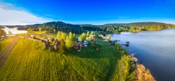 The nature of Karelia. Ladoga lake. Panorama of Karelia. The Republic of Karelia in the summer. Russian Federation. Panorama of nature from a height. Russia