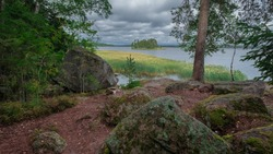 The nature of the Karelian Isthmus stone islands in the Gulf of Finland. The landscape opens from the Mon Repos park near Vyborg russia in fall.