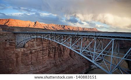 The Navajo bridge crossing over Marble Canyon in northern Arizona