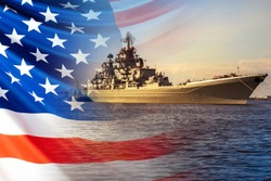 The Navy of the United States of America. Warship on the background of the American flag. Protection of the state's Maritime borders. Participation in armed conflicts on the water.