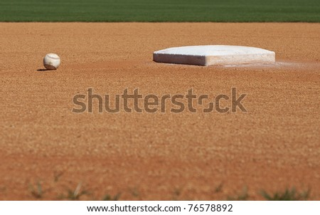 The 2nd base of a baseball diamond with a baseball lying nearby.