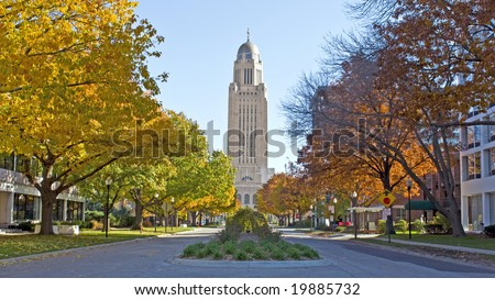 The Nebraska State Capitol Building in downtown Lincoln