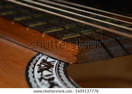 The neck of the guitar with strings