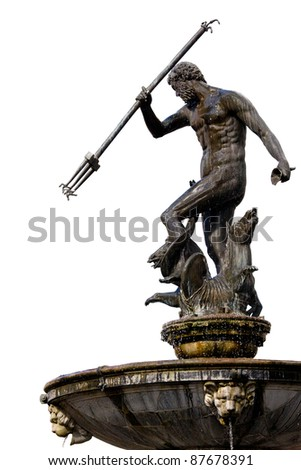 The Neptune, bronze statue of the Roman God of the Sea (Poseidon in Greek mythology) isolated on white background, originally located in the Old Town of Gdansk (Danzig), Poland