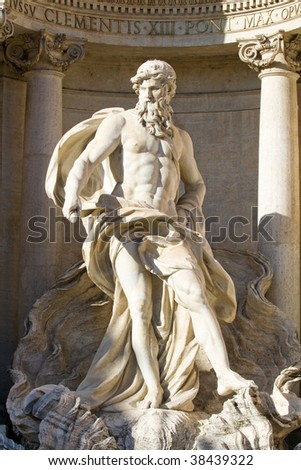 The Neptune statue of the Trevi Fountain in Rome, Italy.