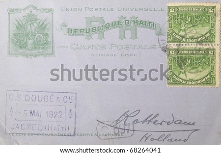 THE NETHERLANDS-CIRCA 1922:Vintage envelope from Haiti  to Rotterdam in the Netherlands in 1922