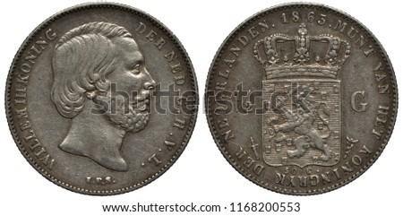 The Netherlands Dutch silver coin 1/2 half gulden 1863, head of King Willem III right, crowned shield with crowned lion holding sword and bunch of arrows divides denomination,