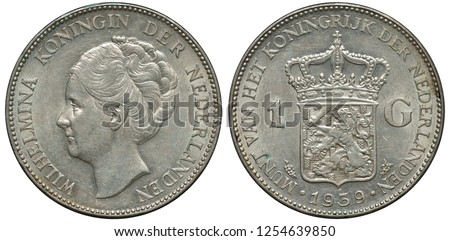 The Netherlands Dutch silver coin 1 one gulden 1939, head of Queen Wilhelmina left, crowned shield with lion holding sword and bunch of arrows divides denomination, date below,