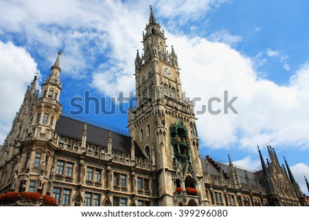 The Neue Rathaus (New Town Hall) is a magnificent neo-gothic building in Munich. Marienplatz is a central square in the city centre of Munich, Germany. It has been the city's main square since 1158.