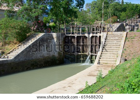The Neuf Ecluses de Fonserannes (Nine Locks of Fonserannes) a UNESCO World Heritage site on the Canal du Midi, in the city of Beziers, in the South of France