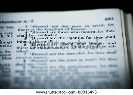 The New American Standard Bible Open To Matthew 5:5, The Sermon On The Mount (The Beatitudes)