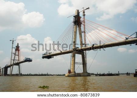 The new bridge across mekong delta river in vietnam