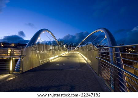 The new bridge at holyhead linking the port and train station to the town centre