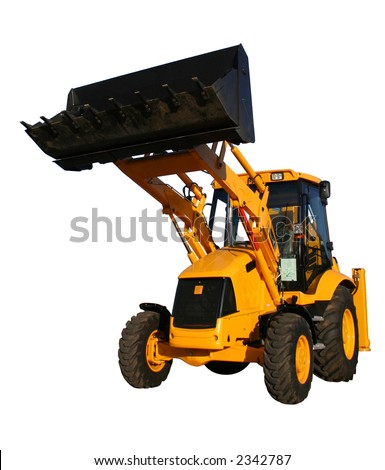 The new bulldozer of yellow color with the lifted bucket on a white background, Isolated (l