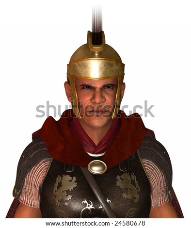 The new Caesar.  Ruling by decree.   Isolated on a white background.