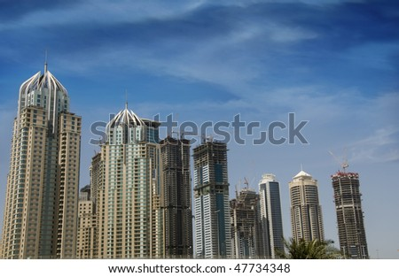 The new commercial district of Dubai, Jumeirah Lake Towers, opposite to Dubai Marina, An under construction view.