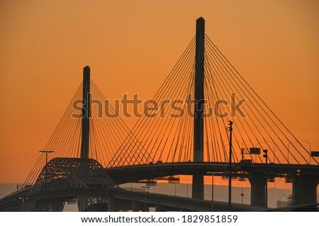 The New Gerald Desmond Bridge in Long Beach, CA Stockfoto ©