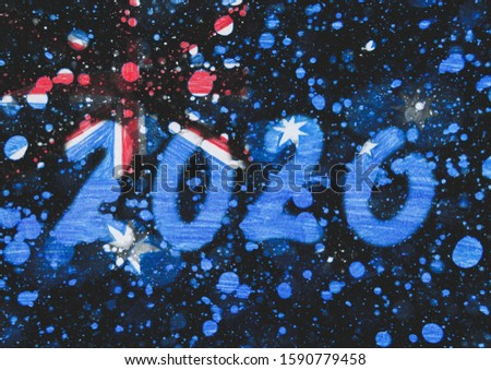 The New 2020 greetings are drawn on the snow-covered national flag of  Australia. For advertising, banner or greeting card