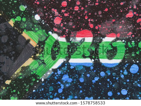 The New 2020 greetings are drawn on the snow-covered national flag of country South Africa. For advertising, banner or greeting card