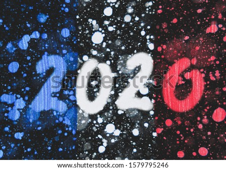 The New 2020 greetings are drawn on the snow-covered national flag of  France. For advertising, banner or greeting card