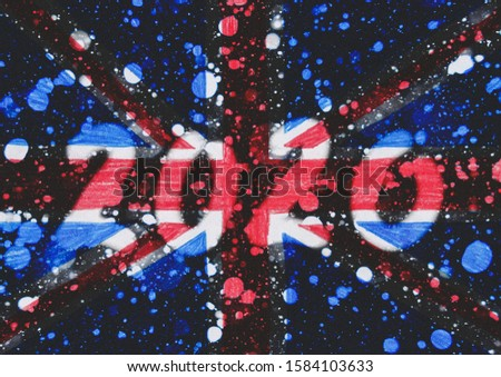 The New 2020 greetings are drawn on the snow-covered national flag of  Great Britain. For advertising, banner or greeting card