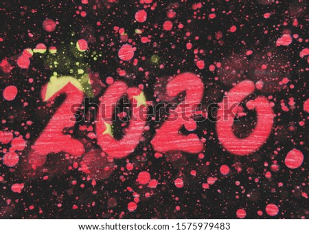 The New 2020 greetings are drawn on the snow-covered national flag of Сhina. For advertising, banner or greeting card