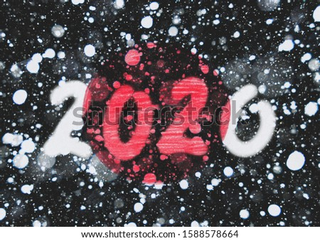 The New 2020 greetings are drawn on the snow-covered national flag of Japan. For advertising, banner or greeting card