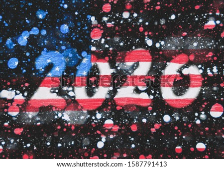The New 2020 greetings are drawn on the snow-covered national flag of  United states of America. For advertising, banner or greeting card