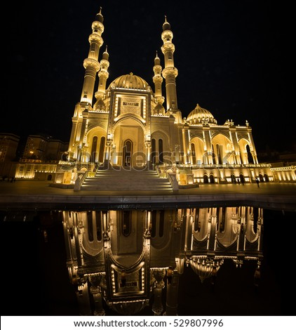 The new Heydar Mosque in Baku city, Azerbeijan.