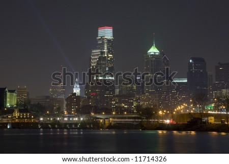 The NEW Philadelphia skyline at night.