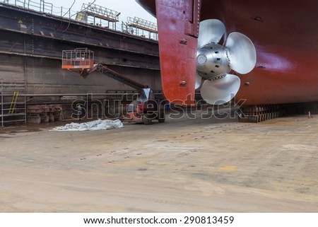 The new propeller mounted on a refurbished ship. The inscription on the dock reads: \