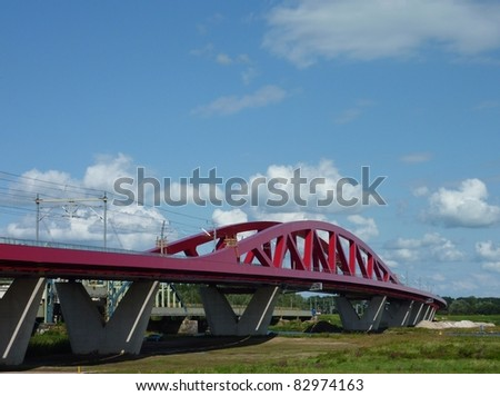 The new railroad and cycle bridge over the river IJssel in Zwolle in the Netherlands