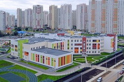 The new school number 31 and new residential buildings in the district of Khimki